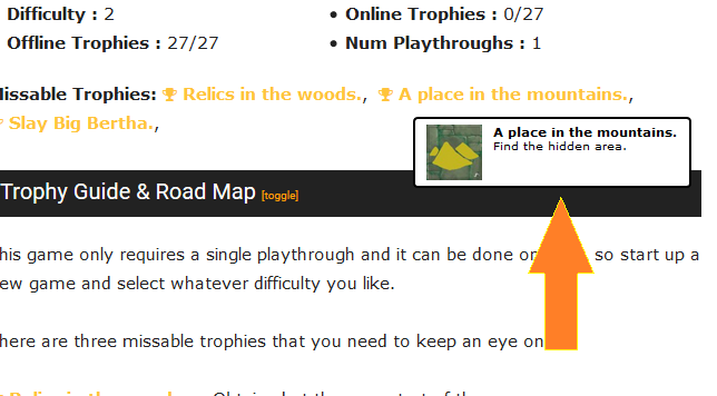 Trophy info on hover