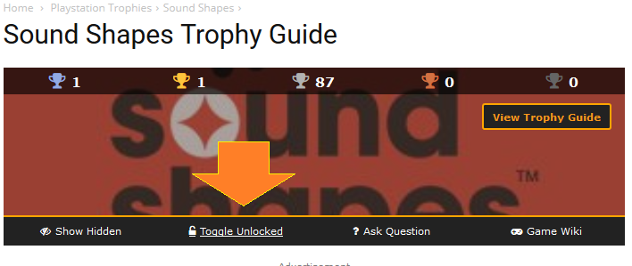How to toggle trophies you have unlocked