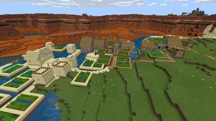 Triple Village Next To Mesa Mineshaft and Zombie Village - Minecraft