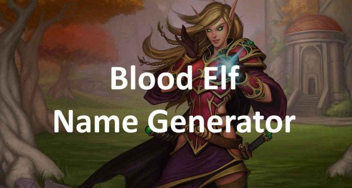 Blood elf name generator