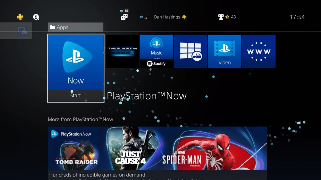 playstation now on PS4 Menu
