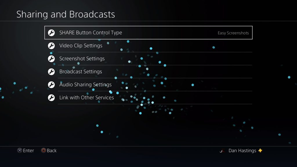 sharing and broadcasts settings