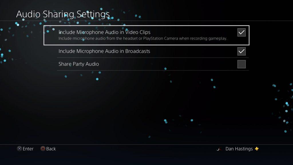 audio sharing settings