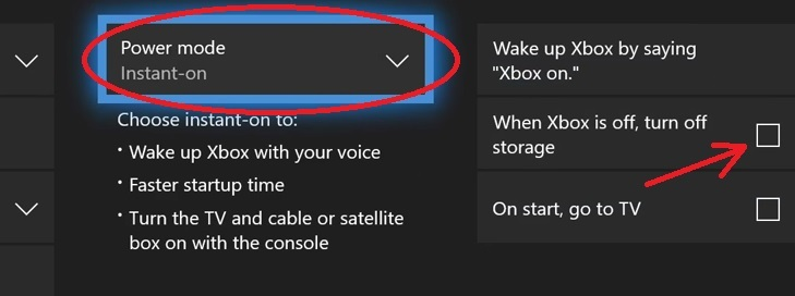 xbox power options for downloading games in sleep mode