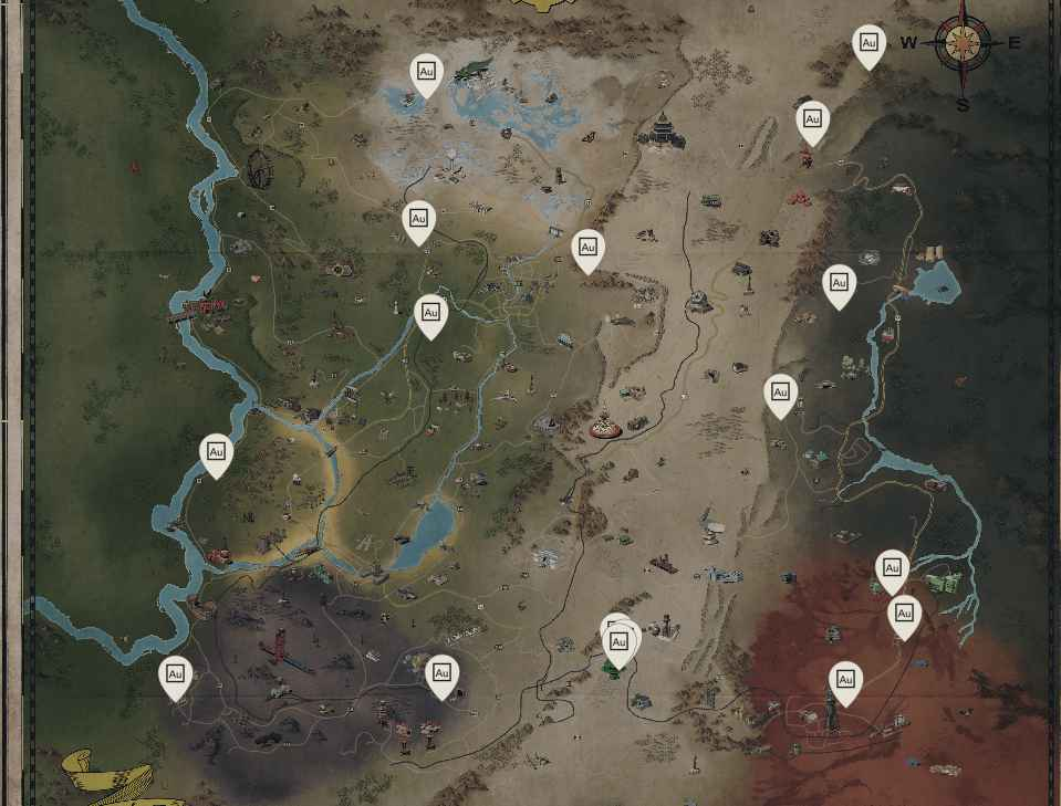 map locations to mine gold