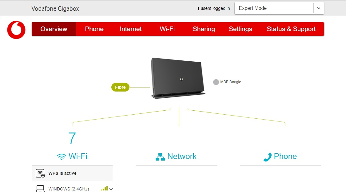 vodafone gigabox home page