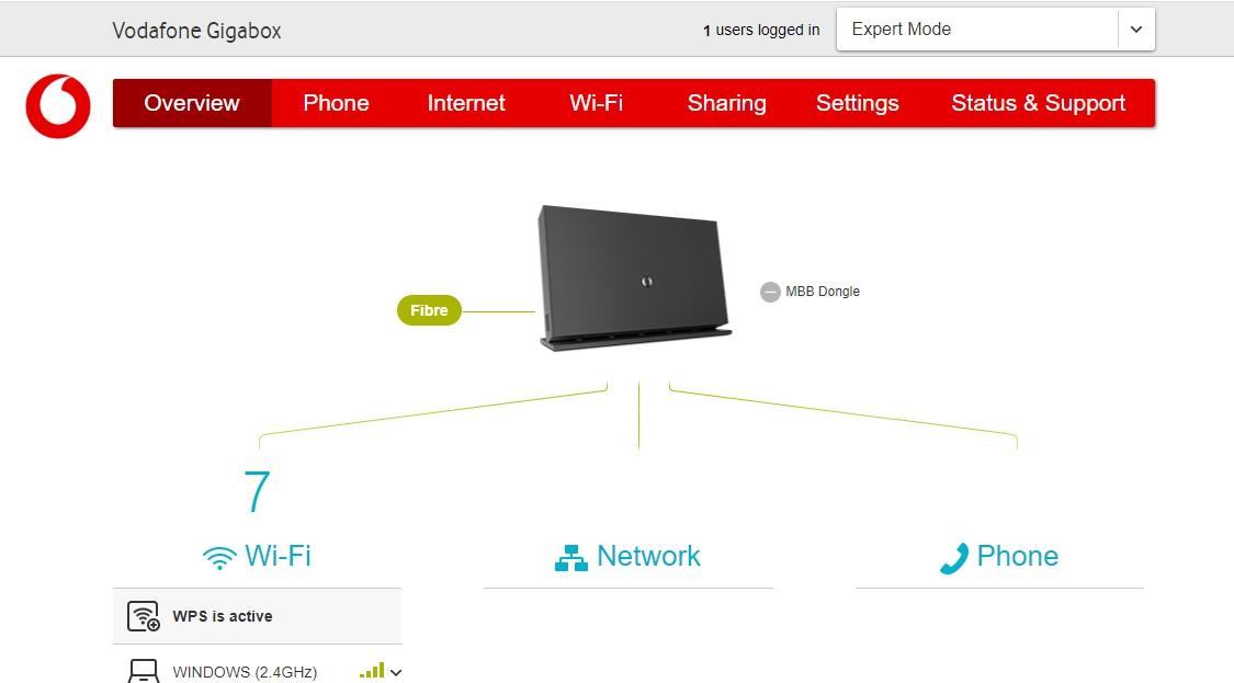 vodafone gigabox home page