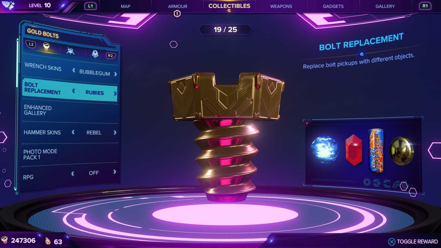 gold bolts in challenge mode