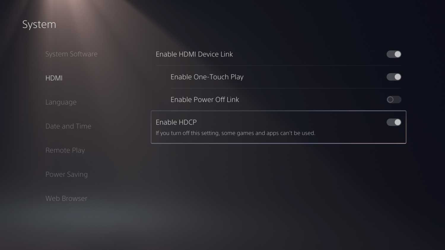 turn of hdcp on the ps5