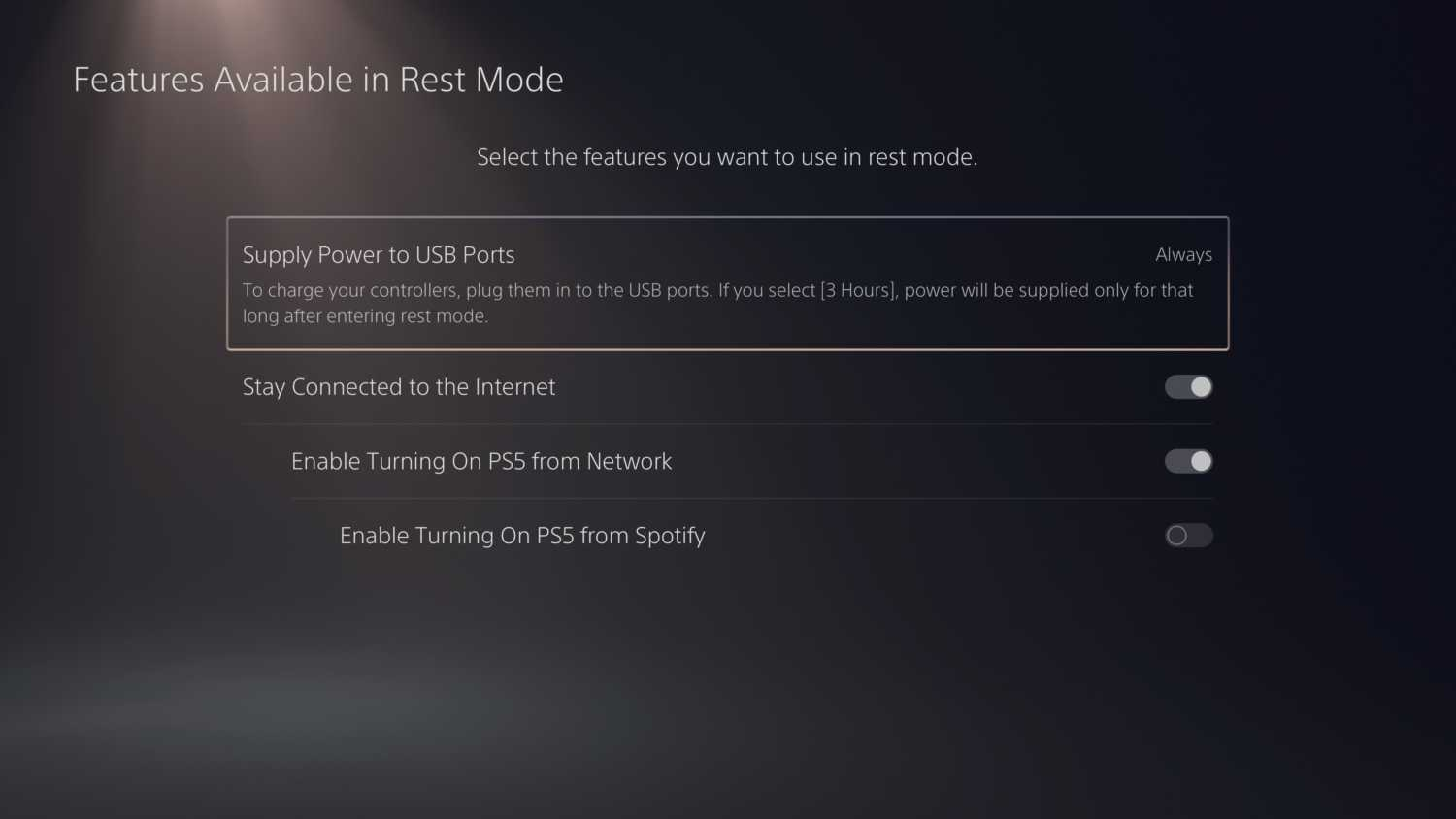 Power USB Ports in rest mode