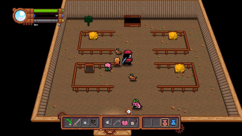 feeding animals in the barn