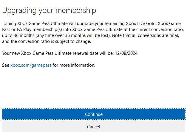 convert xbox gold to gamepass