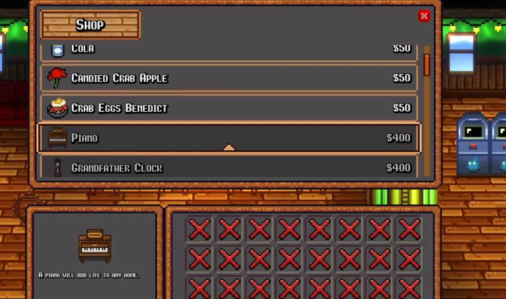 items to purchase in the saloon